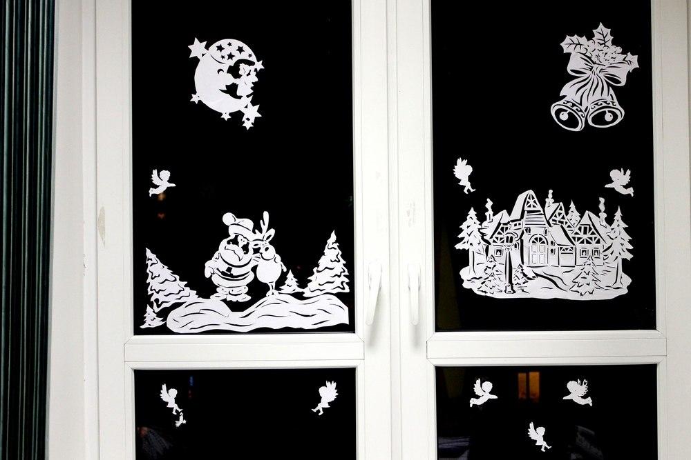 Картина на окно новый год из бумаги