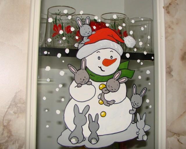 Рисунки гуашью к новому году на окне