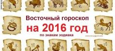 Восточный гороскоп на 2016 год