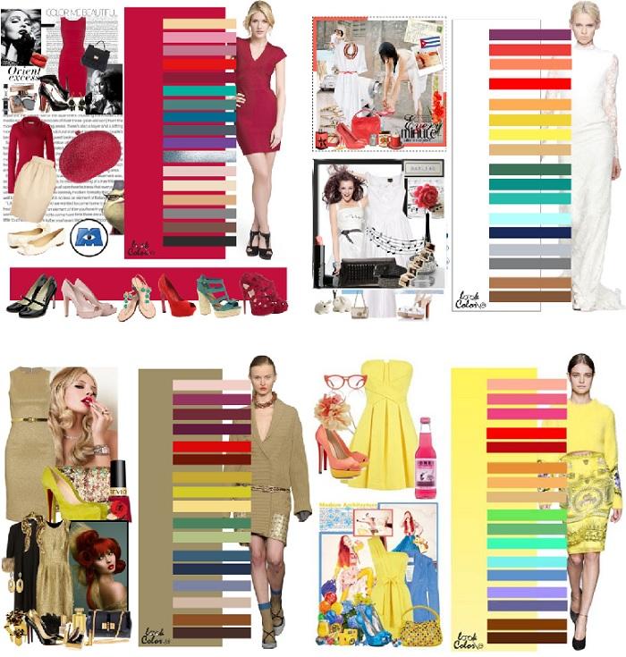 Модные наряды разных цветов