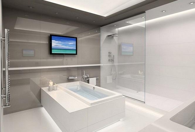 Установлен телевизор в помещении ванной