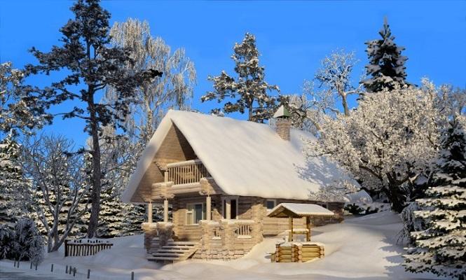 Сельской домик со сруба присыпан снегом