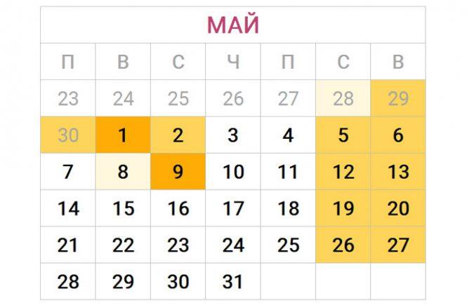 Сколько дней в 2018 май 2018